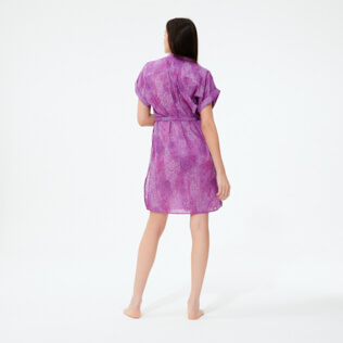 Women Others Embroidered - Women Silk Cotton Shirt Dress Embroidery, Orchid backworn