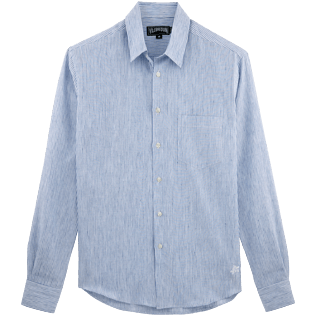Men Shirts Graphic - Micro-stripped Linen shirt, Sky blue front