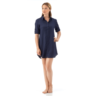 Women Shirts Solid - Long linen shirt, Navy supp4