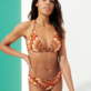 Women Halter Printed - Women Halter Bikini Top 1975 Rosaces, Apricot supp1