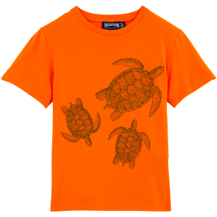 Men Tee-Shirts Printed - Galuchat Turtle Round neck T-Shirt in Jersey cotton, Papaya front