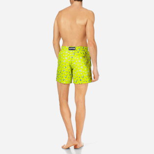 Men Classic / Moorea Embroidered - Men Swimtrunks Embroidered Micro ronde des tortues - Limited Edition, Chartreuse backworn