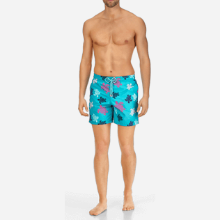 Men Classic Printed - Men Swimwear Multicolor Turtles, Curacao frontworn