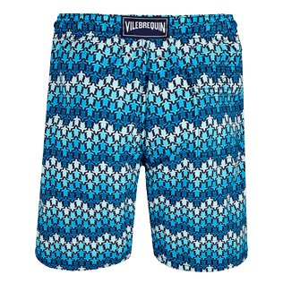 Men Long classic Printed - Men Swim Trunks Long Herringbones Turtles, Navy back