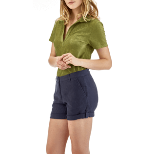 Women Others Solid - Solid Linen Bermuda shorts, Navy supp4