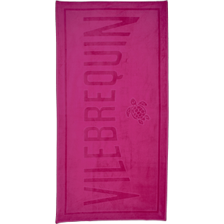Towels Solid - Beach Towel in Terry Cloth Solid Jacquard, Shocking pink front