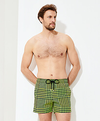 Men Stretch classic Printed - Men Swim Trunks Stretch Crocros, Grass green frontworn