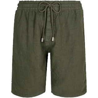Men Others Solid - Men Linen Bermuda Shorts Solid, Pepper front