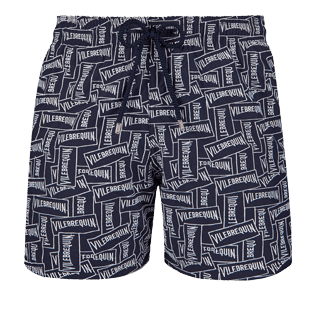 Men 017 Embroidered - Men Embroidered Swim Trunks Vilebrequin Labels - Limited Edition, Navy front