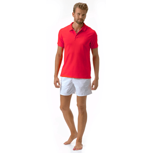 Men Polos Solid - Solid Cotton pique polo, Poppy red supp1
