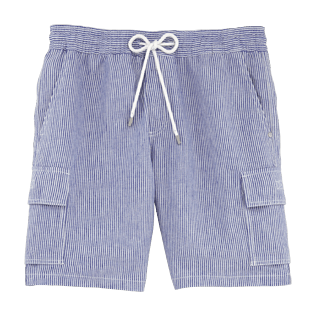 Boys Others Graphic - Stripped Linen bermuda shorts, Sky blue front
