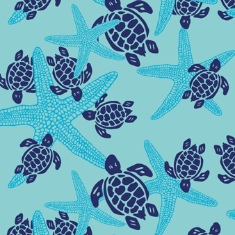 Starlettes & Turtles Swim shorts, Lagoon pattern