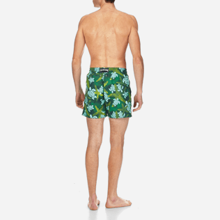 Men Classic Printed - Men Swimtrunks Starlettes & Turtles Vintage, Malachite green backworn