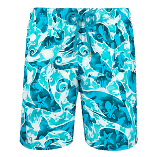 Men Long classic Printed - Men Long swimtrunks Double Focus, Mint front