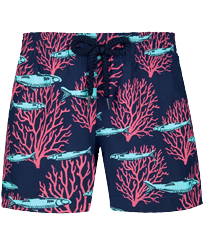 Girls Others Printed - Girls Swim Short Coral & Fish, Navy front