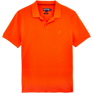 Men Others Solid - Men Cotton Pique Polo Shirt Solid, Clementine front
