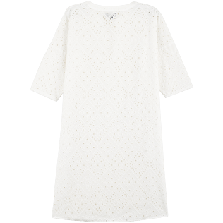 Women Others Embroidered - Women Short Cotton Tunic Dress Eyelet Embroidery, White back