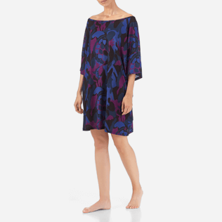 Women Others Printed - Camouflage Turtles Oversize Top, Plum frontworn