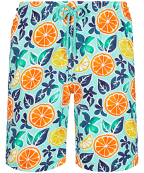 Men Long classic Printed - Men Swim Trunks Long 1994 Presse-Citron, Lagoon front