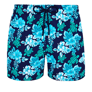 Men Stretch classic Printed - Men Swim Trunks Stretch Turtles Flowers, Navy front