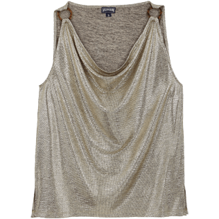 Mujer Autros Liso - Women Lurex mesh Tank Top Solid, Oro front