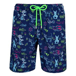 Men Long classic Printed - Men Swim Trunks Long Rabbits and Poodles - Florence Broadhurst, Navy front