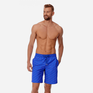 Hombre Clásico largon Estampado - Men Long Swimwear Micro Ronde Des Tortues, Mar azul frontworn