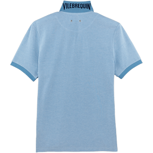 Men Others Solid - Men Cotton Pique Polo shirt Solid, Sky blue back