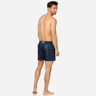 Men Stretch classic Printed - Men Swim Trunks Stretch Prince de Galles, Navy backworn