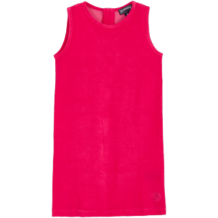 Girls Others Solid - Girls Terry Cloth Sleeveless Dress Solid, Gooseberry red front
