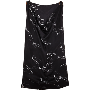 Women Others Printed - Women Cowl neck Silk Voile Dress Fish Dance, Black back