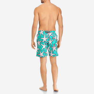 Men Long classic Printed - Men Stretch Swimtrunks Starfish Art, Veronese green backworn