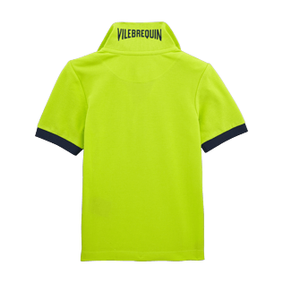 Boys Polos Solid - Cotton pique polo, Lemongrass back