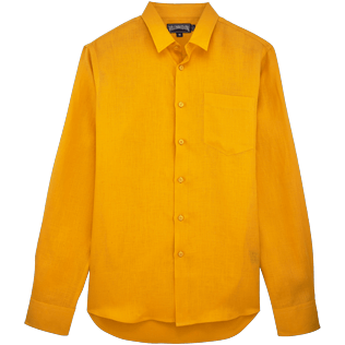 Men Shirts Solid - Men Linen Shirt Solid, Turmeric front