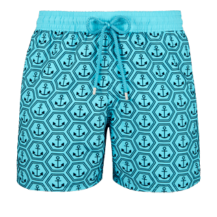 Men Classic Printed - Men Swimwear Flocked Ancre De Chine, Tropezian blue front