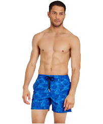 Men 017 Embroidered - Men Embroidered Swimwear Sydney - Limited Edition, Sea blue frontworn