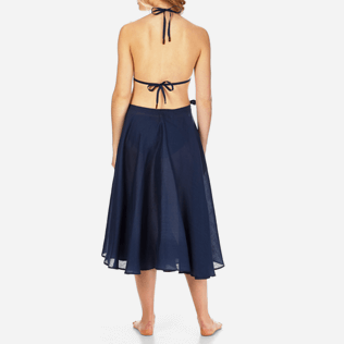 Women Others Solid - Women Long Linen Voile Pareo Skirt Solid, Navy backworn