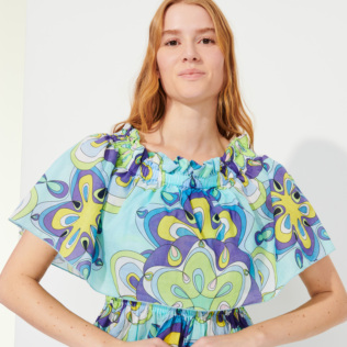 Women Others Printed - Women Cotton Off the Shoulder Long Dress Kaleidoscope, Lagoon supp4