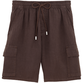 Men Shorts Solid - Solid Cargo linen bermuda shorts, Cafe front