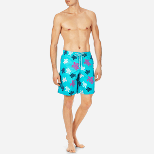 Men Long classic Printed - Men Long Swimtrunks Multicolor Turtles, Curacao frontworn