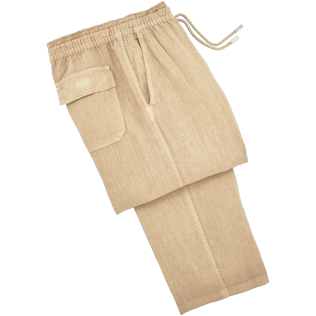 Men Pants Solid - Men Linen Pants Solid, Kraft front