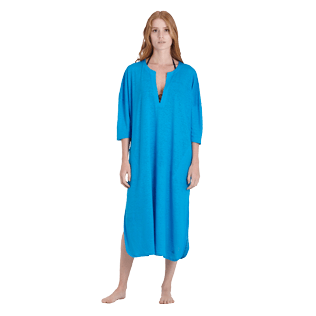 Women Others Solid - Women Linen Beach Cover-up Solid, Hawaii blue frontworn