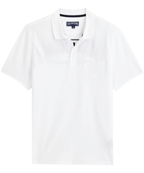 男款 Others 绣 - Men Cotton Pique Polo Shirt Solid, White front