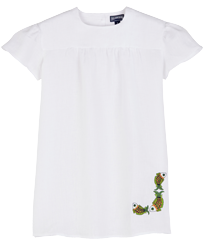 Girls Others Embroidered - Girls Linen Embroidered Dress, White front
