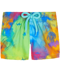 Others Printed - Baby Swim Trunks Holi Party, Batik blue front