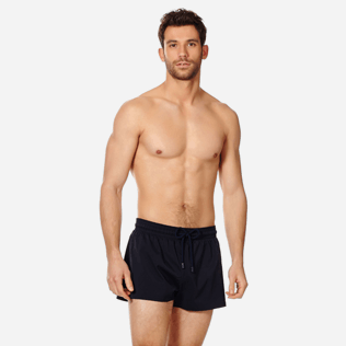 Men Short classic Solid - Men Swim Trunks Short and Fitted Stretch Solid, Black frontworn