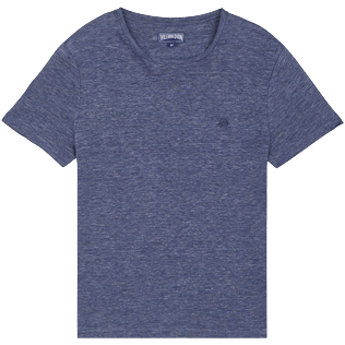 Men Others Solid - Men Linen Jersey T-Shirt Solid, Dark heather blue front