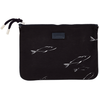 Others Printed - Zipped Cotton Beach pouch Fish Dance, Black front
