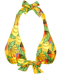 Women Triangle Printed - Women Halter Bikini Top Go Bananas, Curry front