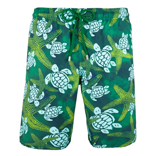 Men Long classic Printed - Men Long Swimtrunks Starlettes & Turtles Vintage, Malachite green front